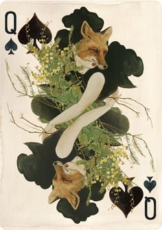 Uusi's Queen Of Spades from the Pagan playing card deck.