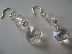 Sterling silver dangles with clear Swarovski Elements