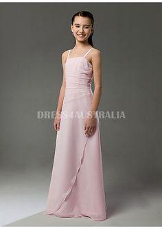 Cheap and Australia Inexpensive Pink Spaghetti Straps Chiffon Floor Length Junior Bridesmaid Dresses from Dresses4Australia.com.au