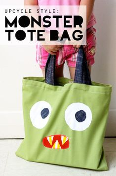 monster tote bag free sewing pattern