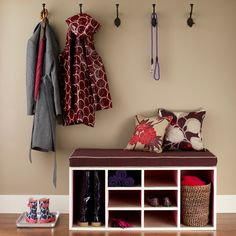 Storage bench against a neutral wall