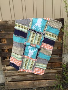 car seat canopy and rag quilt with deer silhouette in turquoise green and orange - Orange Canopy 2016
