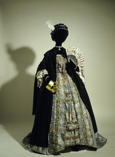 Masquerade costume: 18th century black silk domino cloak over a french silk and linen dress. c.1770-1790