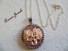 Medaillonketten - Nespresso Kette Medaillonkette rosa silber - ein Designerstück von Renas-Jewels bei DaWanda