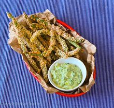"""Spicy Green Bean """"Fries"""" with a Creamy Avocado Dipping Sauce"""
