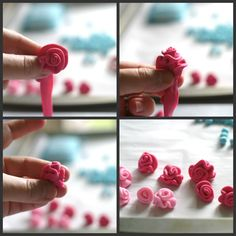 These ribbon roses can be made from fondant to top just about any cake! good tutorial for fimo roses too Fondant Flower Tutorial, Fondant Flowers, Sugar Flowers, Cake Tutorial, Fondant Toppers, Fondant Cakes, Cupcake Cakes, Cupcakes, Cake Decorating Techniques