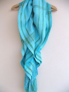 Turquoise Handwoven Scarf by DreamandWeave on Etsy