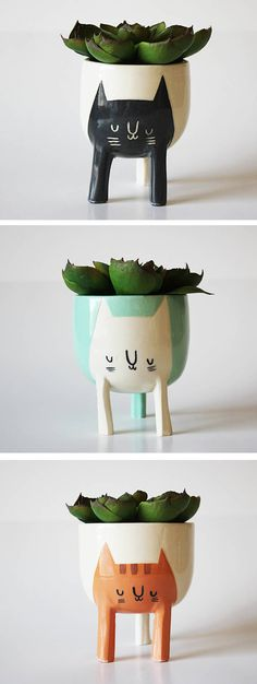 Cat planters by Beardbangs // playful planters