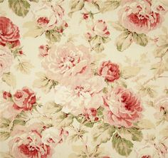 Cottage Chic Floral Curtains Shabby Chic by asmushomeinteriors Vintage Floral Fabric, Vintage Roses, Vintage Paper, Rose Cottage, Cottage Chic, Cottage Style, Shabby Chic Homes, Shabby Chic Decor, Chintz Fabric