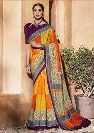Casual Wear Multi Colour Silk Printed Saree