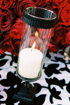 black and white wedding candle photo by Yvette Roman Photography