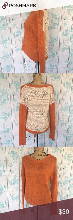 Anthropologie A'reve crochet back sweater Anthropologie A'reve crochet back orange sweater size large Anthropologie Sweaters Crew & Scoop Necks