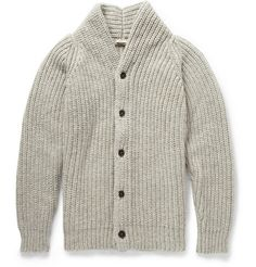 Massimo Alba Chunky Mouline-Wool Shawl-Collar Cardigan | MR PORTER