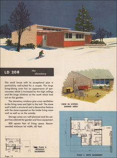 """1951 House Plan, 800-Square-Feet – """"The clerestory widows give cross-ventilation to the living area and light to the hall. The stone wall is a structural and a decorative  feature with the stone exposed on the inside living room wall as well as on the outside."""""""
