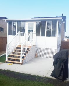 This family in North Edmonton has expanded their dining area with this three season sunroom. Now they can enjoy early morning coffee, and dinner on their deck for more months in the year. Aluminum Uses, Extruded Aluminum, Four Season Sunroom, Covered Decks, Glass Roof, Sunrooms, Early Morning, Morning Coffee, Dining Area