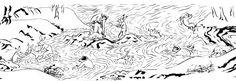 Rabbits and Snow Monkeys Bathing from a modern copy of the Chōjū-jinbutsu-giga, an early 12th Century scroll.