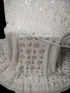Pure Georgette Lucknowi Chikankari Heavy Bridal Lehenga with Gota Patti Work