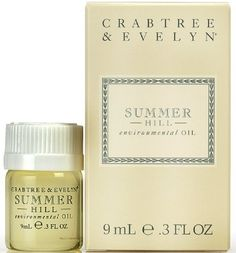 Crabtree & Evelyn Summer Hill Environmental Oil by Crabtree & Evelyn. $12.95. Crabtree & Evelyn Summer Hill Environmental Oil, 0.34 fl oz. C number 282529. Brand new in original package, direct from Crabtree & Evelyn.  C concentrated home fragrance oil can be used with a simmering pot or light bulb ring to scent rooms with the Summer Hill fragrance.  Concentrated home fragrance Excellent for scenting large rooms and living spaces Use with simmering pots or li...