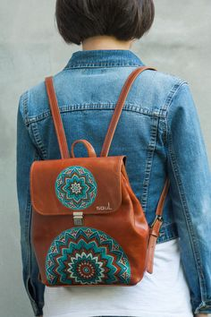 Leather brown backpack Womans backpack Small women rucksack City-style leather backpack Travel bag Women's daily pack Mandala Brauner Lederrucksack. Lederrucksack im City-Stil. Black Leather Backpack, Black Leather Bags, Leather Purses, Leather Wallet, Brown Backpacks, Leather Backpacks, Travel Bags For Women, Backpack Travel Bag, Suede Handbags