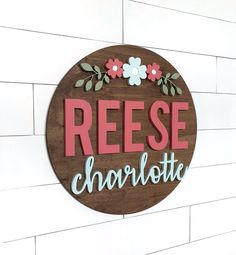 Custom Flower Name Sign 24 Round Sign Child or image 0 Nursery Letters, Nursery Signs, Mint Paint, Baby Shower Gifts, Baby Gifts, Middle Names For Girls, Baby Room Colors, Floral Nursery, Mint Nursery