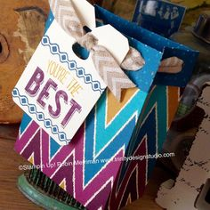 Gift Bag created with the New Gift Bag Punch Board and Bohemian Designer Series Paper by Robin Merriman @ Trinity Design Studio