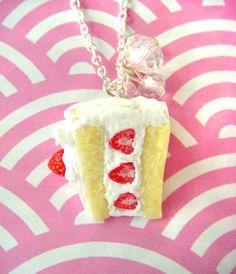 Strawberry Cake - Kawaii Japanese Style ^______^ #strawberry #cake #japanese #food #polymerclay #handmade #etsy $25
