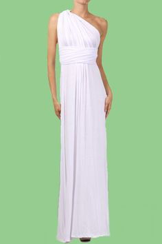 White one shoulder look.