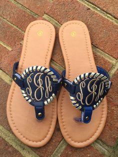 f250d2ec516d0 20 Best Monogrammed Shoes images | Flip flop sandals, Flip Flops ...