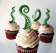 12 Tentacle Cupcake Toppers Acrylic by ThroughThickandThin on Etsy, $15.00
