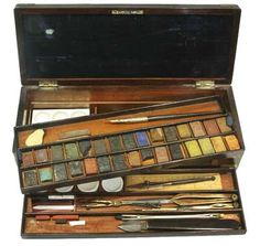 Winsor & Newton watercolor box, c. 1830-1840. Brass banded rosewood box fitted with original watercolours, china palette, boxwood rule and brushes.