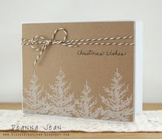 Handmade Christmas card with white trees stamped on kraft paper. Homemade Christmas Cards, Christmas Cards To Make, Xmas Cards, Homemade Cards, Holiday Cards, Marry Christmas Card, Stamped Christmas Cards, Christmas Wrapping, Christmas Diy