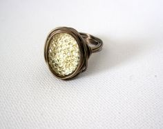 Statement ring yellow sparkle wire wrapped in by LaylasTrinkets, $16.00