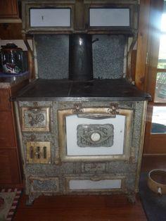 Antique Cast Iron/White Enamel Wood-Burning Cook Stove by Wrought Iron Range Co. #WroughtIronRangeCo