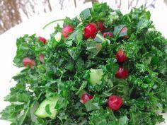 Parsley & Kale Salad with Pomegranate │© Life Through the Kitchen Window.com Plant Based Eating, Kale Salad, Seaweed Salad, Parsley, Pomegranate, Veggies, Window, Ethnic Recipes, Kitchen