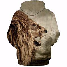 Wild King Royal Fierce Lion Roar Vintage Amazing 3D Hoodie Animal& Style:Wild, King, Royal, Fierce, Lion, Roar, Vintage, Amazing Size: S / M / L / XL / 2