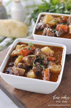Slow Cooker Irish Stew  -  beef, veggies, potatoes, onions, tomato paste, garlic, sugar, soy sauce, etc.  it sounds good, frugal/cheap, balanced.  want.   lj