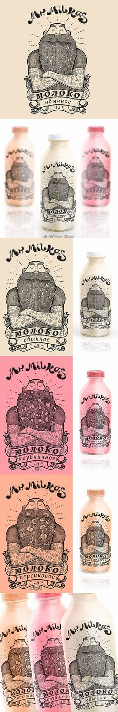 Mr. Milkas, Package © Екатерина Горн by Katya Gorn, Novosibirsk, Russian Federation. Mr. Milkas milk (Concept)  Illustration, packaging PD