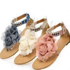 Cheap sandals pearl, Buy Quality shoes sandals sale directly from China sandals ladies shoes Suppliers: ASDS 2016 Gladiator Sandals for Women Bohemia Beaded Summer Flower Flat Heels Flip Flops Women's Shoes Tstraps Sandals Ankle Strap Flats, T Strap Sandals, Flat Sandals, Heeled Flip Flops, Flip Flop Sandals, Gladiator Sandals Heels, Shoes Sandals, Diy Wedding Shoes, Cheap Womens Shoes