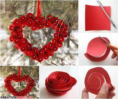 Valentýnské srdce z papírových růží