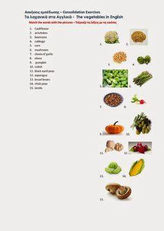Αγγλική Παιδεία : Τα λαχανικά στα αγγλικά - The vegetables in englis... Black Eyed Peas, Artichoke, Cauliflower, Cabbage, Garlic, Stuffed Mushrooms, Pumpkin, Vegetables, Stuff Mushrooms