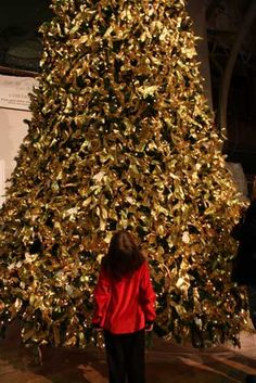 """""""Light up the Holidays with Hope.""""  Purchase a gold ribbon to place on the Christmas tree in Washington D.C. to honor or remember a child who has or is fighting cancer."""
