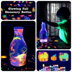 Glowing Discovery Bottles -- Fall Invitations to Play - Play Trains! This could be a fun Bulletin Board display idea with a blacklight nearby.