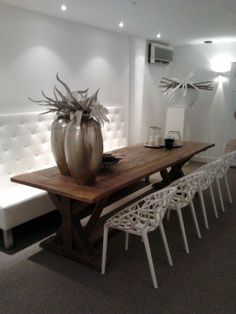 home decor cheap Dinning Room Bench, Dining Table Design, Living Room Inspiration, Furniture Inspiration, Interior Inspiration, Kitchen Interior, Home And Living, Home Art, Furniture Design