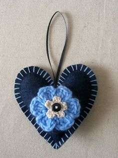 Denim Heart Ornament/Hanging Decoration. Susie Carranza Studio on Etsy. $9.00