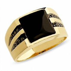 Zales Men's Onyx Ring in Gold with Enhanced Black Diamonds Mens Gold Rings, Rings For Men, Steel Jewelry, Jewelry Rings, Black Jewelry, Jewelry Ideas, Diy Jewelry, Jewelry Making, Gold Ring Designs