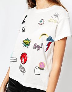 Image 3 of Pull&Bear Tee With Patches