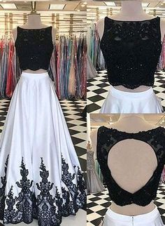 black two piece prom dresses, prom dresses with appliques, open back prom dresses long, women's prom dresses