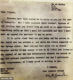 A letter from Gandhi to Hitler, written a month before the latter invaded Poland and started WWII