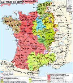 """Royaume de France en 1180. Philippe II est un Capétiendirect. Son surnom d'""""Auguste"""" lui fut donné par le moine Rigord après que Philippe II eut ajouté au domaine royal en juillet 1185 (Traité de Boves) les seigneuries d'Artois, du Valois, d'Amiens et une bonne partie du Vermandois et également parce qu'il était né au mois d'août. Référence directe aux empereurs romains, ce terme signifie qu'il a accru considérablement le domaine."""