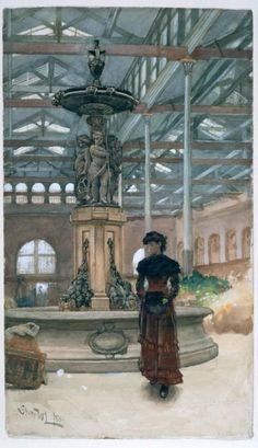 Old Market Hall and Fountain, Birmingham by Walter Langley, 1880.